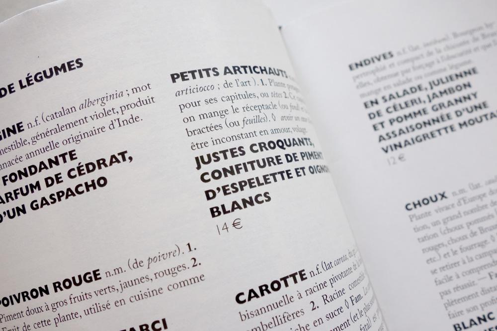 Restaurant derrière menu design