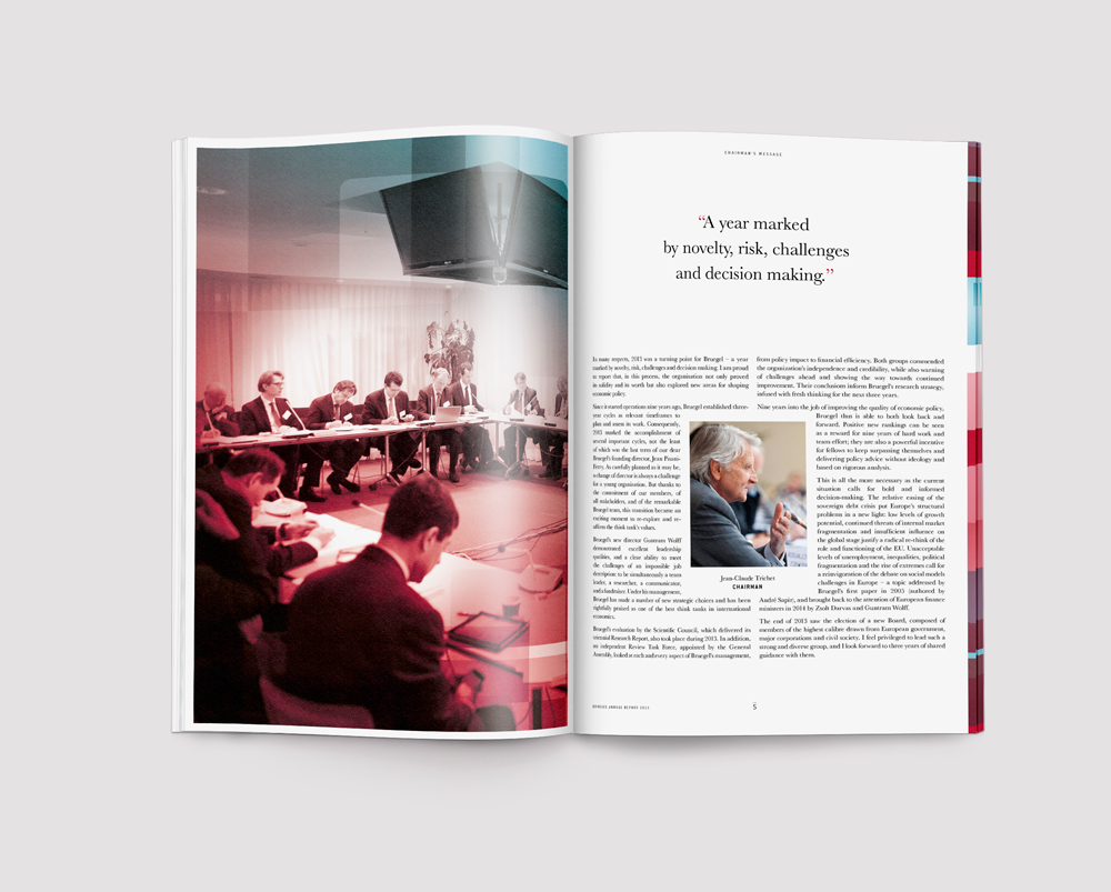 Bruegel Think tank annual report 2013, brochure design by Tomoe Sugiura