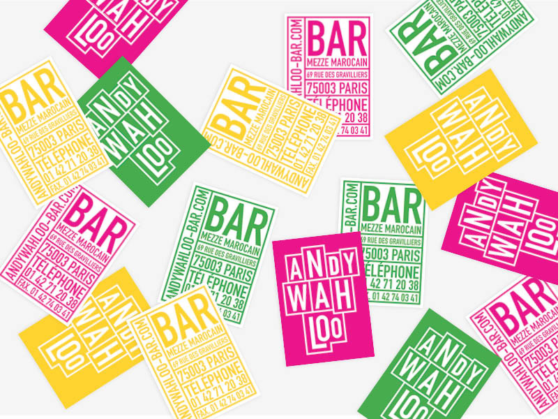 design cartes visite restaurant bar andy wahloo graphisme