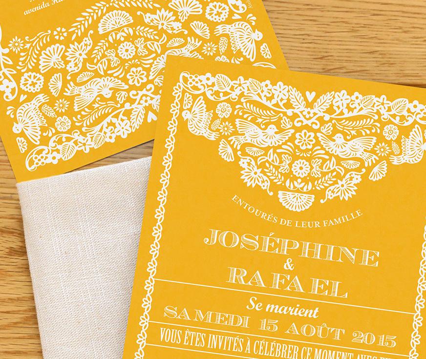 faire part de mariage modèle papel picado design by tomoe pour l'atelier rosemood