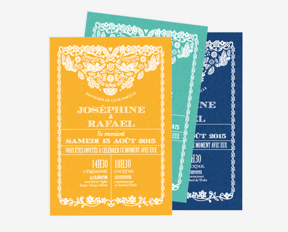 Faire part mariage papel picado design tomoe sugiura Atelier Rosemood